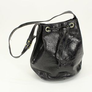 Vintage Black Embossed Bucket Bag Purse